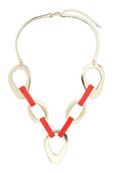 Neon Link Necklace In Pink