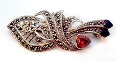 Vintage Sterling Silver Marcasite Red Crystal by bitzofglitz4u, $40.00