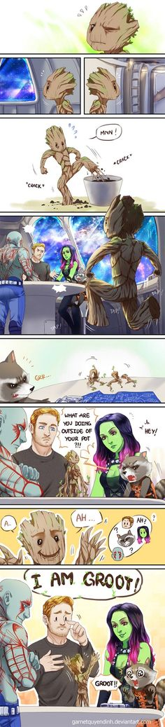 Baby Groot←Peter looks so pround! And Rocket may feel like his toddler just learned to talk :) Baby Groot is so precious! Marvel Jokes, Ms Marvel, Marvel Dc Comics, Heros Comics, Funny Marvel Memes, Bd Comics, Dc Memes, Funny Memes, Hulk Funny