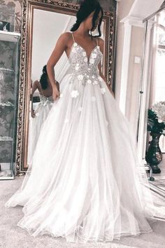 Spaghetti Straps Sleeveless Backless Wedding Dress with Appliques Wedding Gown evening gowns for wedding Wedding Evening Gown, Wedding Dress Chiffon, Cute Wedding Dress, Backless Wedding, Long Wedding Dresses, Cheap Prom Dresses, Bridal Dresses, Lace Dress, Bridesmaid Dresses