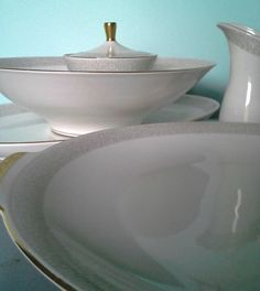 Vintage Gold and White China Edelstein Bavaria Set by SparkleSet