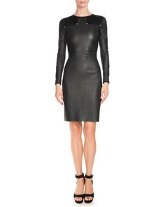 Givenchy Studded Leather Long-Sleeve Dress, Black $4,355.00