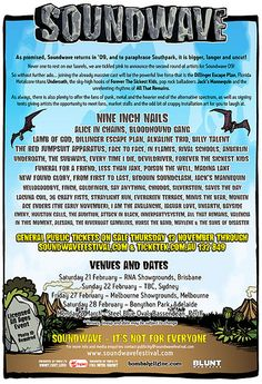 Soundwave, 2009. Epic. Escape Plan, Music Festivals, Sound Waves, Creative Industries, Two By Two, Posters, Australia, How To Plan, Poster