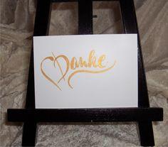 Danksagung - Danke - Perlglanz Gold - Hand Lettering - Karte - ein Designerstück von CatrinKerschl bei DaWanda