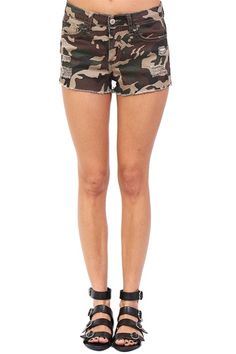 Camouflage Distressed Shorts at Blush Boutique Miami - ShopBlush.com