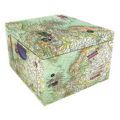 Large World Map Collapsible Storage Box | Storage Boxes at The Works £7 or 2 for £10
