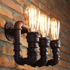 Sanyi Vintage Water Pipe Wall Light Fixture Industrial Brass 3-Light Wall Sconce Edison Lamp Retro Metal Wall light Retro Ceiling Pedant Light Fixture Retro Wall Lamp: Amazon.co.uk: Lighting
