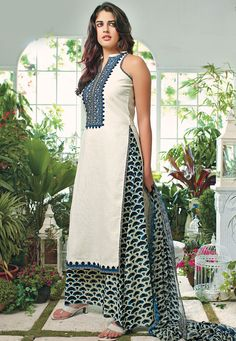 Off #White Cotton #Kameez with Sharara