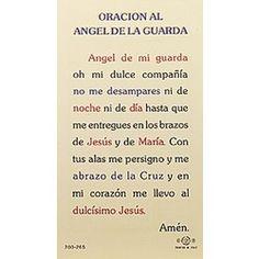 Oracion al Angel de la Guarda (Guardian Angels) - Spanish Prayer Card | The Catholic Company