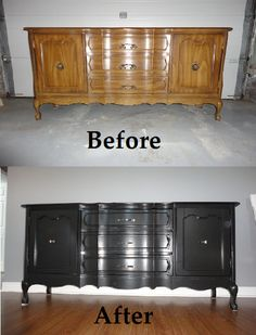 Refinished vintage sideboard. Would love to do this is with a dark stain!