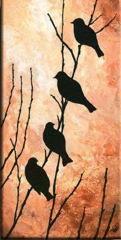 Print of Original Acrylic Painting Night Bird by EditVorosArt Bird Paintings On Canvas, Acrilic Paintings, Cute Paintings, Diy Canvas Art, Vogel Silhouette, Bird Silhouette Art, Silhouette Painting, Silouette Art, Bird Art