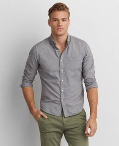 AEO Oxford Button Down Shirt, Men's, Grey