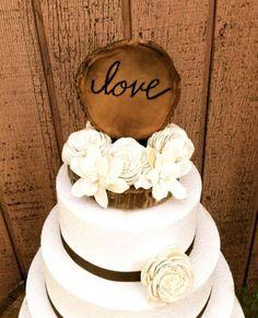 Love wooden carved wedding topper
