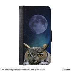 Owl and Blue Moon Wallet Case for Samsung Galaxy S4, S5 or S6