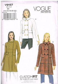 Vogue 9157, Sewing Pattern, Custom Fit, Misses' Coat and Jacket, Size 14, 16, 18, 20, 22, Plus Size by OhSewWorthIt on Etsy
