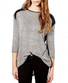 Relaxed Style Long Sleeve Black PU Leather Shoulder Matching Round Neckline T-shirt