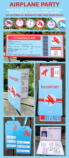 Vintage Airplane Boarding Pass Invitation & by SIMONEmadeit, $14.95
