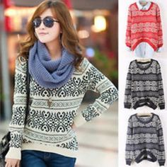 Thick sweater outwear knitted geometric pattern casual loose pullover