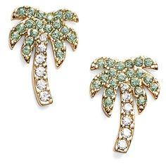 kate spade new york 'out of office' palm tree stud earrings ($48) ❤ liked on Polyvore featuring jewelry, earrings, light green multi, crystal stud earrings, glass earrings, palm tree earrings, post earrings and earrings jewelry