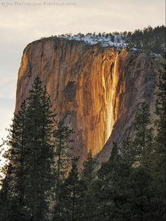 El Capitan Glow - Horsetail Falls, Yosemite National Park, California   Jim Patterson via Flickr