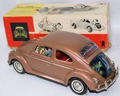 Vintage Battery Op Tin VW Volkswagen Beetle #960 w/ Visible Engine, Bandai, $250