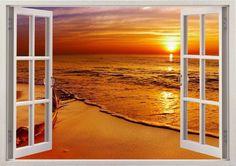 Window 3D Sunshine Instant View Beach Wall Decal Sticker Graphic Mural KIDS