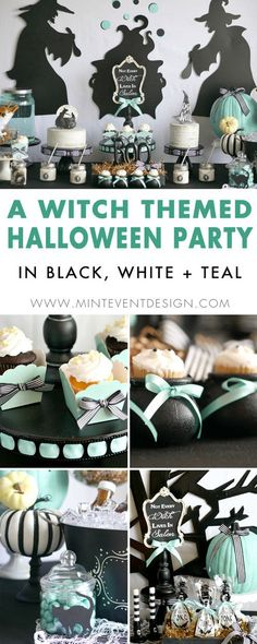 Find out how to re-create this modern witch themed Halloween Party on Mint Event Designl. The theme is based on the Not All Witches Live in Salem chalkboard and features black, white and teal pumpkins. See the entire Halloween styled party on . Witch Party, Halloween Party Themes, Halloween Birthday, Diy Halloween Costumes, Halloween Crafts, Halloween Decorations, 24th Birthday, Halloween Desserts, Salem Halloween