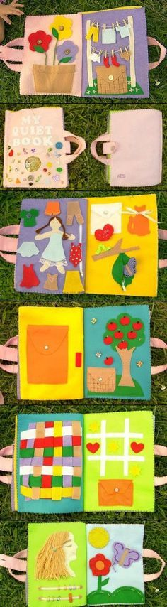 Quiet Book A handmade quiet book for the older ones.A handmade quiet book for the older ones. Diy Quiet Books, Baby Quiet Book, Felt Quiet Books, Sewing Crafts, Sewing Projects, Sewing Ideas, Quiet Book Patterns, Busy Book, Sewing For Kids