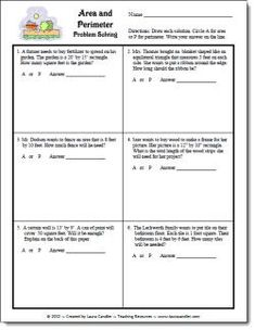 Area and Perimeter Word Problems freebie