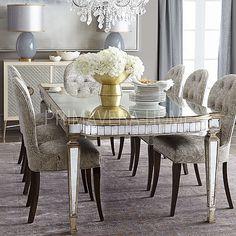 Stół do jadalni stal nierdzewna szkło przeźroczysty styl glamour Beverly Hills