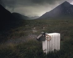 This radiator sheep was shipped up to the highlands of Scotland, for the photograph.