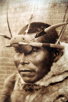 A Nunivak Cup'ig man wearing a raven mask. Photograph by Edward S. Nunivak Island, Alaska, USA, Source: Library of Congres Native American Photos, Native American History, Native American Indians, Native Americans, Arte Inuit, Inuit Art, We Are The World, People Of The World, Native Wears