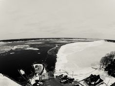 Dering Harbor Co. Shelter Island Aerial Photograph - North Ferry Navigating the Ice in B&W