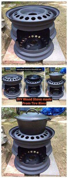 DIY Wood Stove made from Tire Rims that I use for my cast iron skillet cooking! DIY Wood Stove made from Tire Rims that I use for my cast iron skillet cooking! Outdoor Projects, Diy Projects, Metal Projects, Recycling Projects, Backyard Projects, Diy Wood Stove, Camping Wood Stove, Diy Holz, Outdoor Cooking