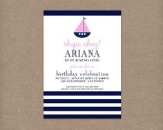 Talk about a sign that my baby girl (Ariana's) first birthday should be a nautical theme. :)  Custom Printable Preppy Nautical Birthday Party Invitation for girls. $10.00, via Etsy.