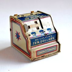 Vintage J. Chein & Co. tin litho Dime Register Bank 2 inches tall  offered by Elizabeth Rosen