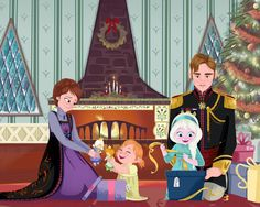 I like how interactive and excited the queen looks with Anna and the king seems more like he's guarding Elsa