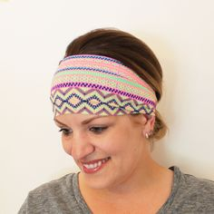 Fitness Headband. Featherweight Non Slip Head Wrap. The ultimate in workout headband comfort || Neon Tribal Stripes - pinned by pin4etsy.com