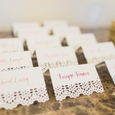 Escort cards for your Mexican Wedding. Latin inspire wedding. Lace escort cards to show a romantic feel!