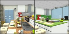 3D floor plans for modern kitchens.  LEFT - wrap around counter tops with wood appearance, island, KitchenAide mixer, easter decor, and food items.  RIGHT - Green kitchen counter tops & backsplash, KitchenAide mixer, coffee and espresso items, large windows, and Easter decor on spacious kitchen island.  Designed in RoomSketcher Premium Edition.