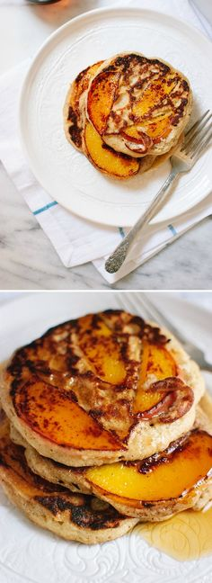 Delicious peach pancakes! Hurry and make them before peach season is over! cookieandkate.com #glutenfree