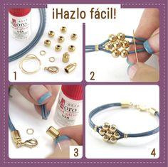 ¡Hazlo fácil!  Mira cómo se hace una hermosa pulsera en solo 4 pasos. Si quieres…