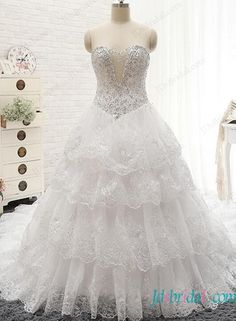 Plus size illusion plunging beaded sparkly bodice  lace tiered ball gown wedding dress