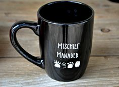 Mischief Managed Mug - Hand Painted Coffee Mug  - Black Mug Cup Ceramic Tea Cup -  Harry Potter Mug Marauders Map Mug Mooney Wormtail by PugWithAMug on Etsy https://www.etsy.com/listing/272051918/mischief-managed-mug-hand-painted-coffee