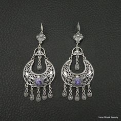 Amethyst Cz Earrings Filigree Style 925 Sterling Silver Greek