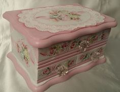 Hand Painted Vintage Jewelry Box Pink Rose Hydrangea Cottage Chic Shabby Lace HP