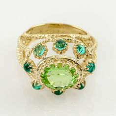 Ring with Center Green Stone & Blue Stones 14kt Yellow Gold