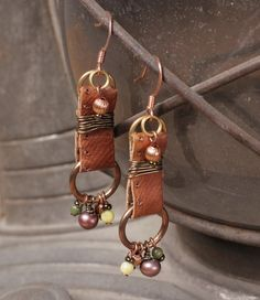 cute, leather dangles #leather_earrings