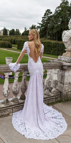 nurit hen 2017 bridal long sleeves deep plunging sweetheart neckline heavily embellished bodice elegant sexy fit and flare wedding dress open low back chapel train (20) bv