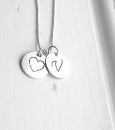 Large Initial Necklace Heart Necklace Monogram by GirlBurkeStudios